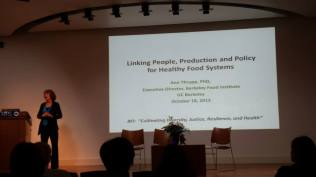 "Dr. Ann Thrupp talked about her vision in ""Linking People, Producers and Policy for Healthy Food Systems"" at the newly established Berkeley Food Institute at UC Berkeley."