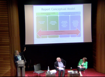 """Dr. Fernald presenting a conceptual framework at """"Global Health and the Future Role of the United States"""""""